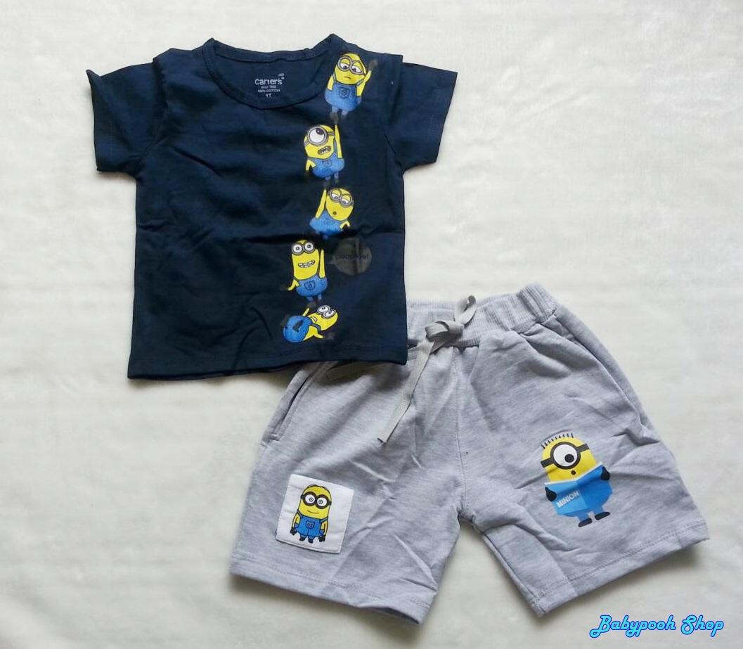 Carter's : ชุดset เสื้อ+กางเกง สกรีนลาย Minion สีกรม เทา size : 7T / 8T