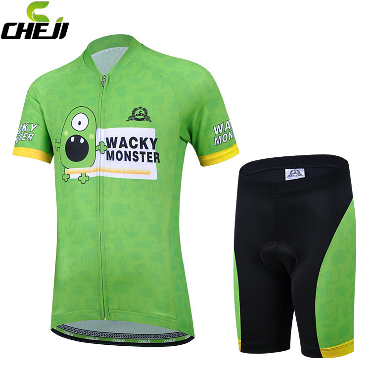 ชุดจักรยานเด็กแขนสั้นขาสั้น CheJi สีเขียวลาย Monster