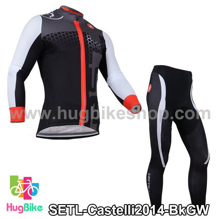 ชุดจักรยานแขนยาวทีม Castelli 14 สีดำเทาขาว สั่งจอง (Pre-order)