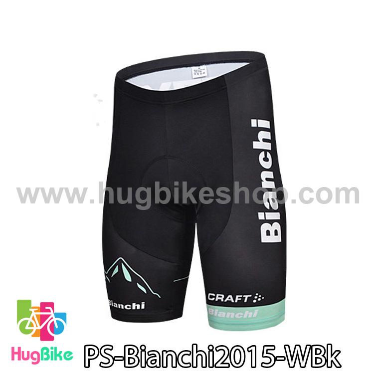 กางเกงจักรยานขาสั้นทีม Bianchi 15 สีดำขอบขาเขียว สั่งจอง (Pre-order)