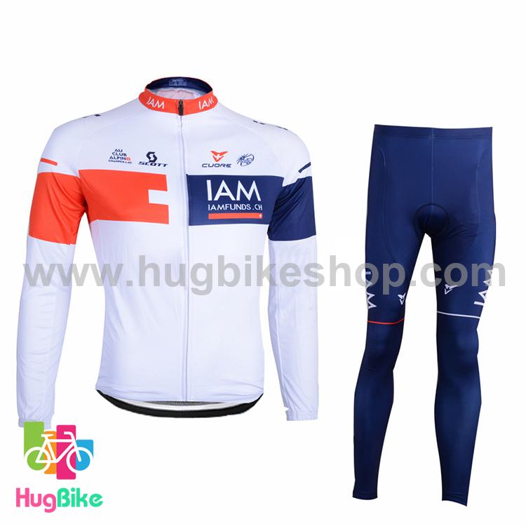 ชุดจักรยานแขนยาวทีม IAM 16 (01) สีขาวน้ำเงินแดง