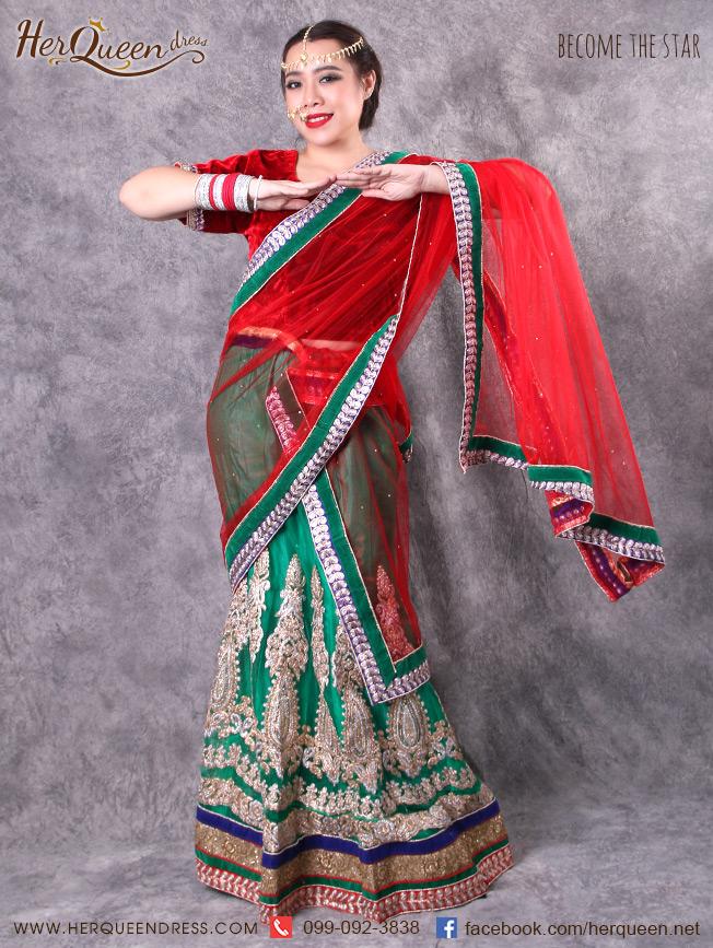 เช่าชุดแฟนซี &#x2665 ชุดแฟนซี ชุดอินเดีย ชุดแขก ส่าหรี 3 ชิ้น เซ็ทกระโปรงสีแดง ผ้าคลุมเขียว