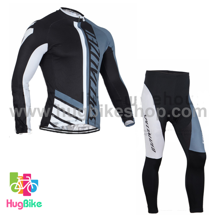 ชุดจักรยานแขนยาวทีม Specialized 16 (02) สีดำเทาขาว