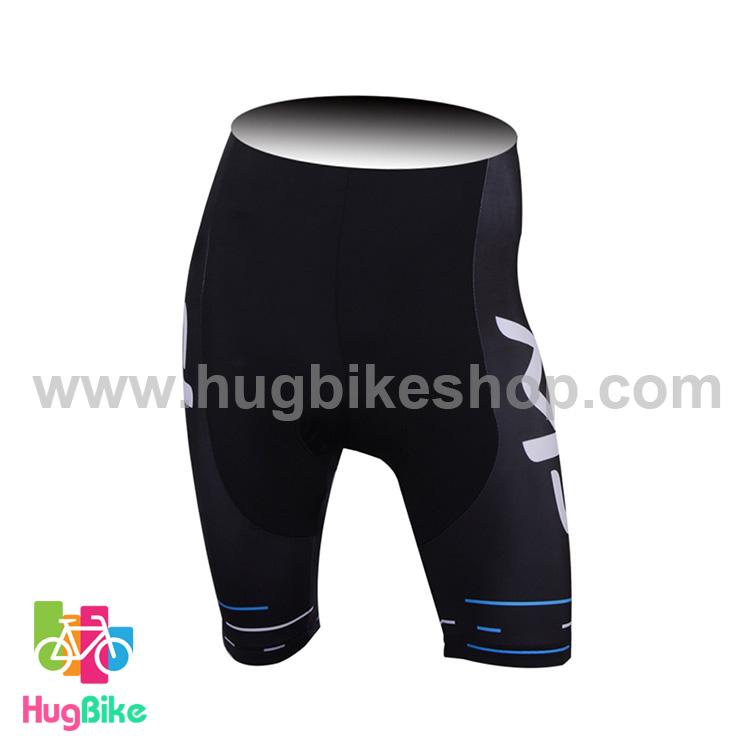 กางเกงจักรยานขาสั้นทีม Sky 17 (01) สีดำลายฟ้า
