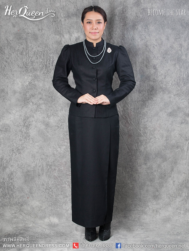 เช่า - ขาย ชุดไทยงานมงคล&#x2665 ชุดไทยจิตรลดา ผ้าลินิน ทรงแขนรูด สีดำ