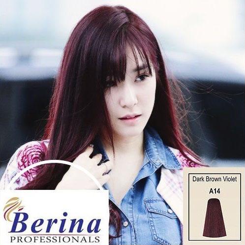 เบอริน่า ครีมย้อมผม A14 สีน้ำตาลเข้มประกายม่วง Dark Bown Violet 60 g.