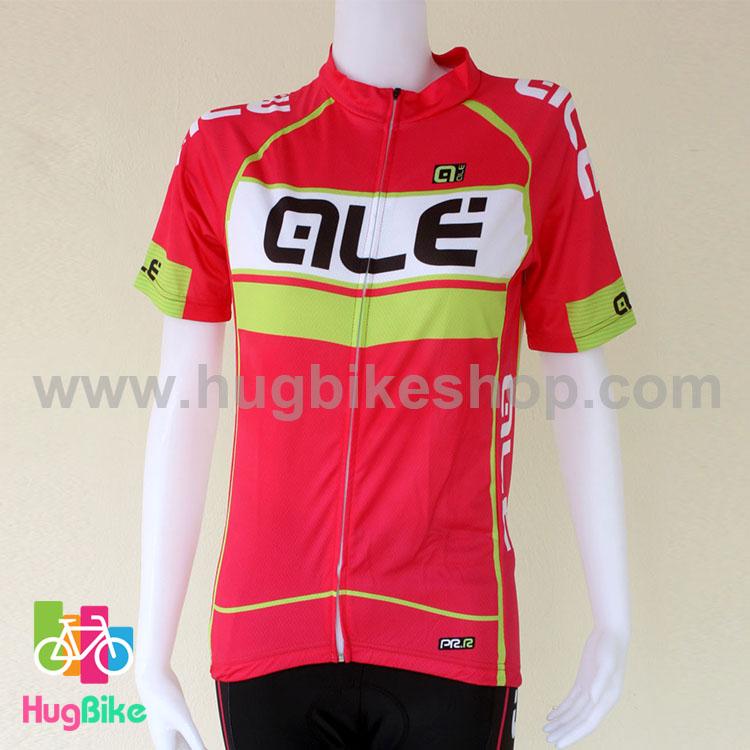 เสื้อจักรยานผู้หญิงแขนสั้น ALE 16 (12) สีชมพูขาวเขียวหลังขาว