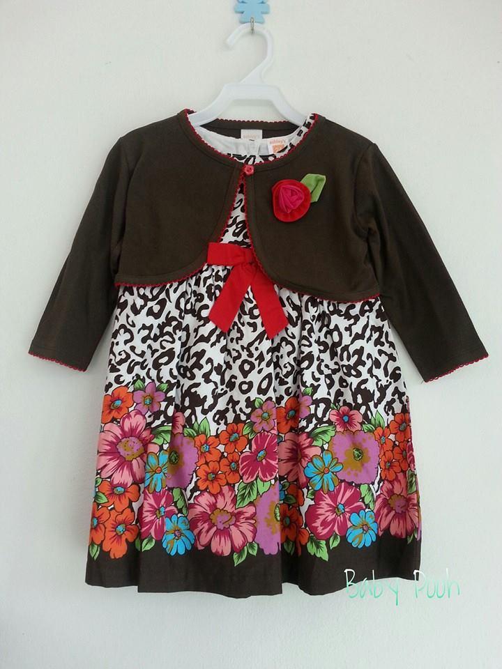 Ashley เดรสผ้าวู่เว่น มีซับใน มาพร้อมเสื้อคลุมสีน้ำตาลปักดอกไม้