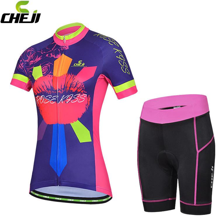 ชุดจักรยานผู้หญิงแขนสั้นขาสั้น CheJi 15 (09) สีน้ำเงินลาย Rose Kiss สั่งจอง (Pre-order)