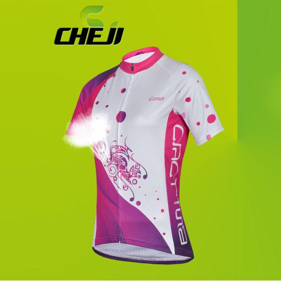 เสื้อจักรยานผู้หญิงแขนสั้น CheJi สีขาวชมพูบานเย็น สั่งจอง (Pre-order)
