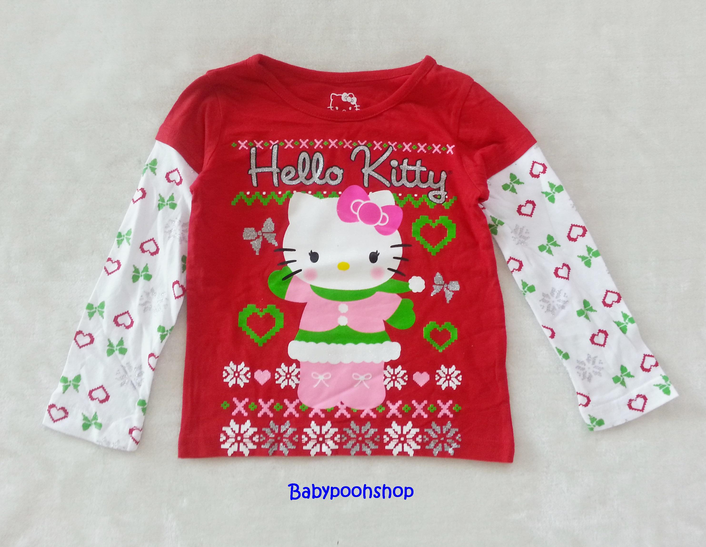Hello Kitty : เสื้อยืดแขนยาวสีแดง ลาย คริสมาสต์ Hello Kitty สีแดง size 4T (3y)
