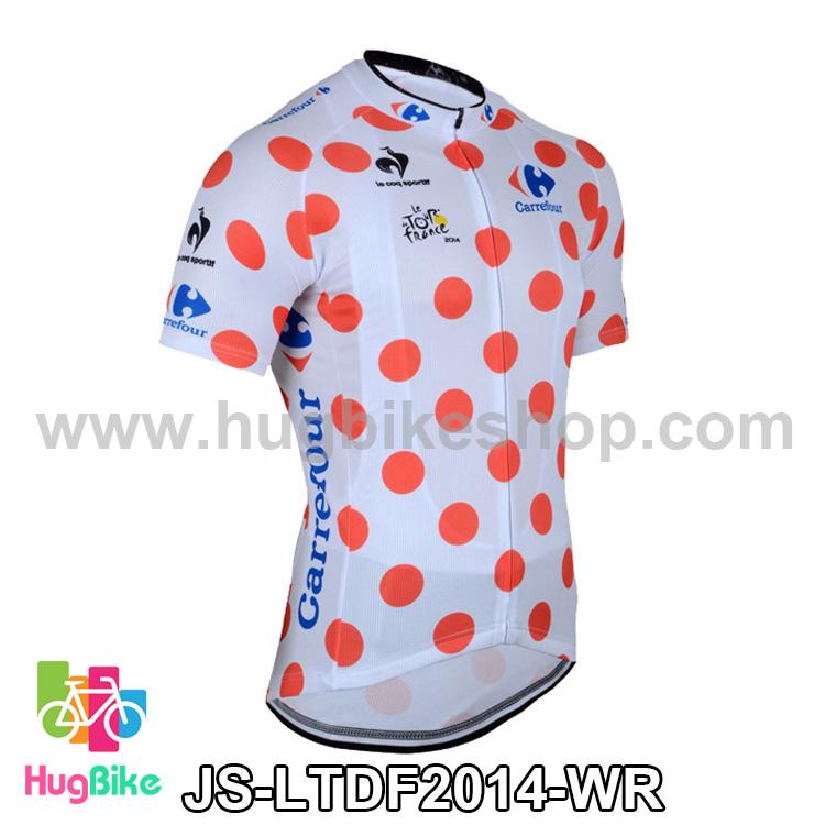 เสื้อจักรยานแขนสั้นทีม Le tour de france 2014 สีขาวลายจุดแดง สั่งจอง (Pre-order)