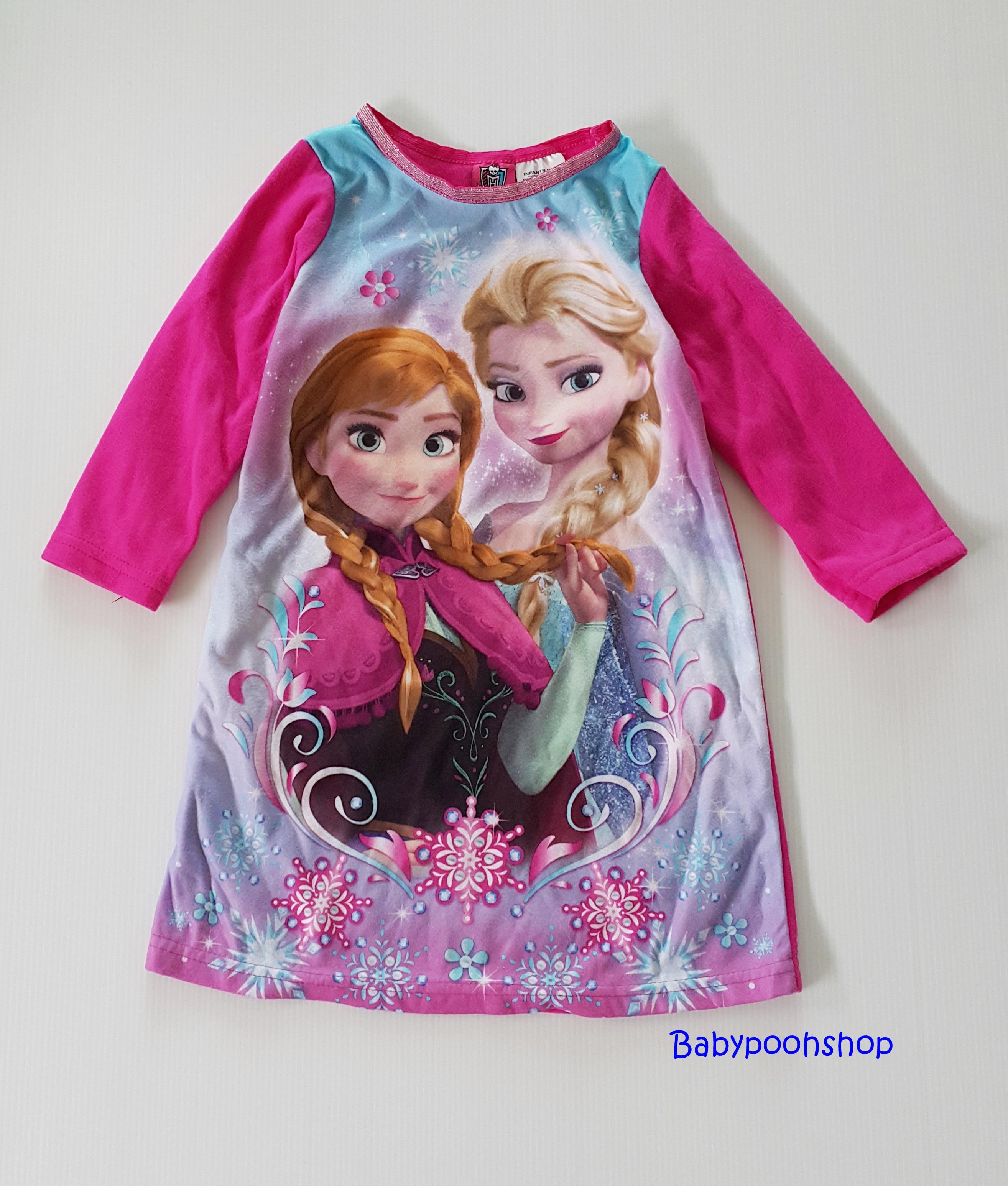 Disney : ชุดนอนแขนยาว ผ้าสำลี พิมพ์ลายเจ้าหญิงแอนนา เอลซ่า สีชมพูเข้ม size : 12m / 18m / 24m