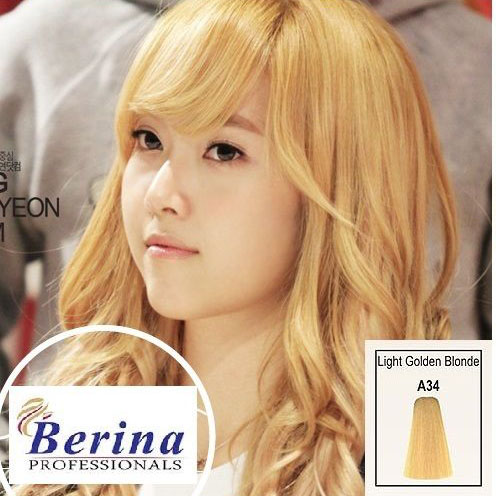 เบอริน่า ครีมย้อมผม A34 สีบลอนด์อ่อนประกายทอง Light Golden Blonde 60 g.