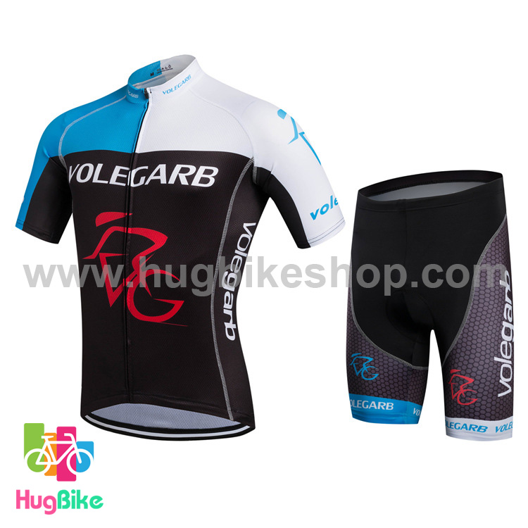 ชุดจักรยานแขนสั้น Volegarb 16 (03) สีฟ้าขาวดำ