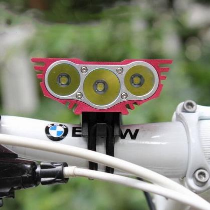 ไฟหน้าจักรยาน CREE XM-L T6 LED 3 ดวง ความสว่าง 3600 Lumen พร้อมแบตเตอรี่ครบชุด (DC)