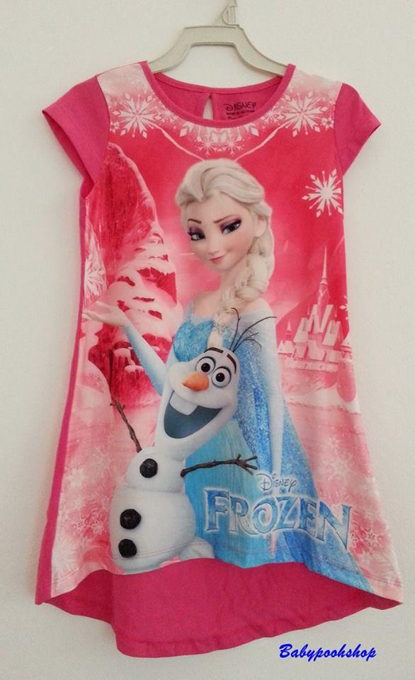 Disney : เดรสสั้นลาย Frozen ด้านหน้าเป็นผ้ามันลื่นๆ ด้านหลังเป็นผ้า cotton สีชมพู size 1T