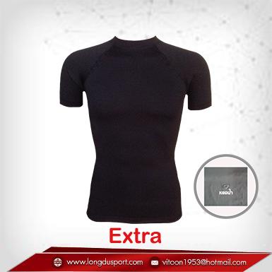 เสื้อรัดกล้ามเนื้อ แขนสั้นคอกลม สีดำ รุ่น Extra (สุดยอดผ้ายืดผิวผ้าลื่น)