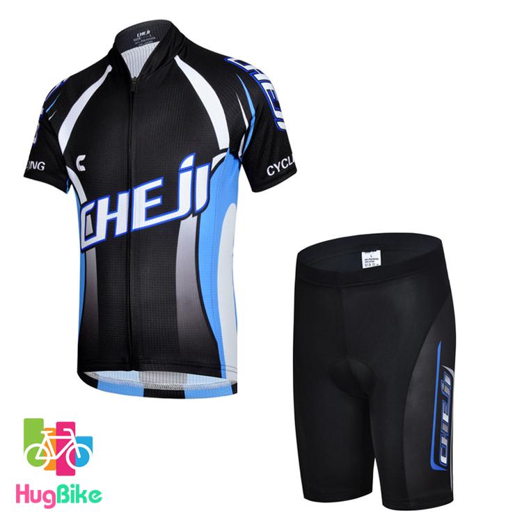 ชุดจักรยานเด็กแขนสั้นขาสั้น CheJi สีดำฟ้า