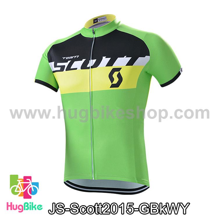 เสื้อจักรยานแขนสั้นทีม Scott 15 (01) สีเขียวดำขาวเหลือง สั่งจอง (Pre-order)