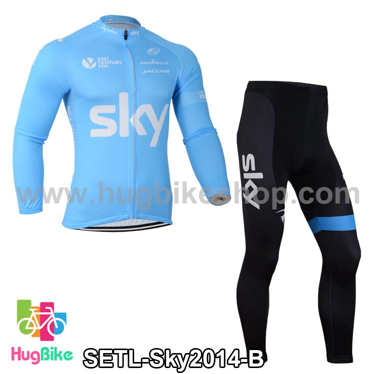 ชุดจักรยานแขนยาวทีม Sky 14 สีฟ้า