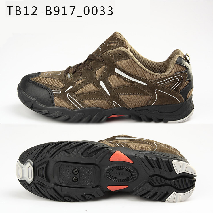 รองเท้าจักรยานเสือภูเขาแบบผ้าใบ TIEBAO รุ่น TB12-B917 สีน้ำตาลเข้ม