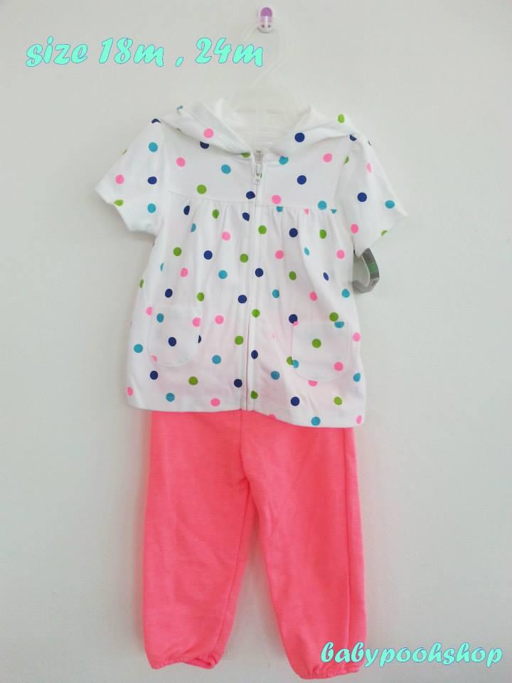 Carter's : set เสื้้อคลุมลายจุดมีฮูด พร้อมกางเกงขายาวชมพู