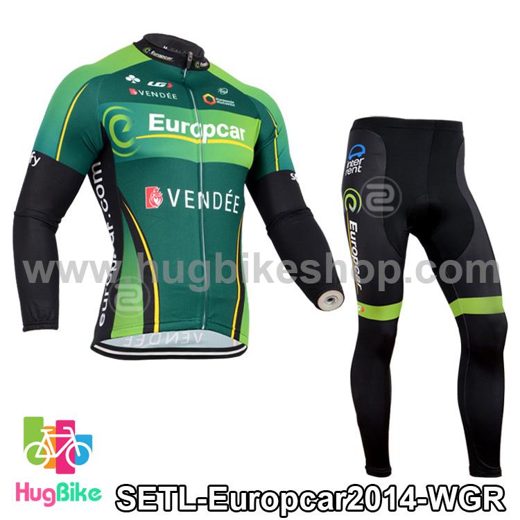 ชุดจักรยานแขนยาวทีม Europcar 14 สีเขียวดำ