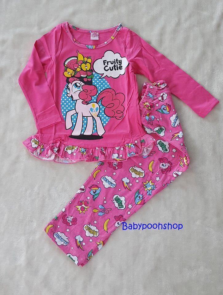 set ชุดนอน เสื้อแขนยาว+กางเกงขายาว ลายม้าโพนี่ Fruity Cutie สีชมพู size : 4(4-5y)