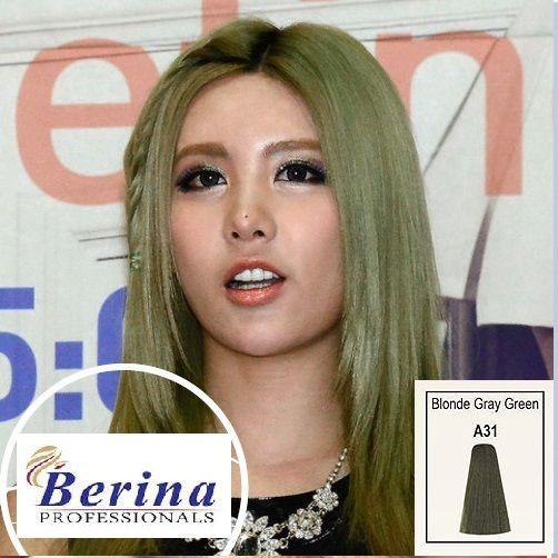 เบอริน่า ครีมย้อมผม A31 สีบลอนด์เขียวหม่นอ่อน Blonde Gray Green 60 g.