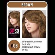 ดิ๊พโซ่ ไวเบรนซี่ แฮร์ คัลเลอร์ V06 สีน้ำตาลลูกนัท ประกายทอง บีอาร์ 8/7 Golden Nut Brown BR 8/7
