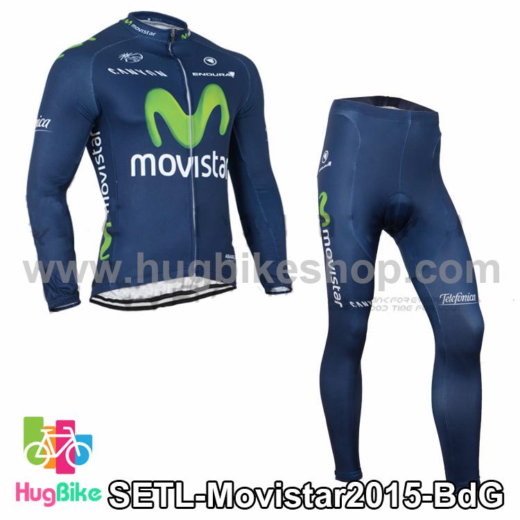 ชุดจักรยานแขนยาวทีม Movistar 15 สีน้ำเงิน