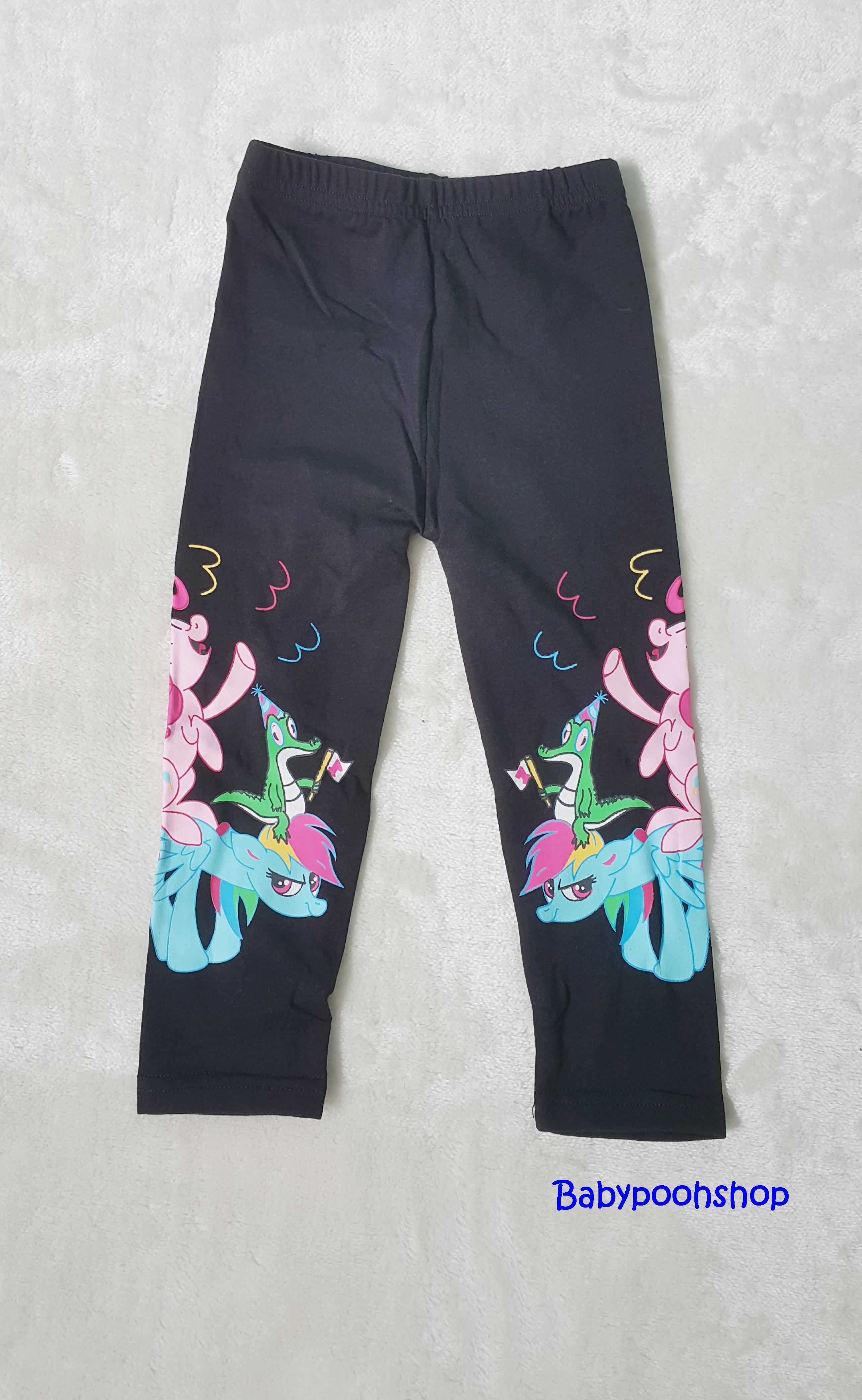 H&M : เลกกิ้ง สกรีนลายม้าโพนี่ ที่ขา สีดำ size : 2-4y / 6-8y / 8-10y