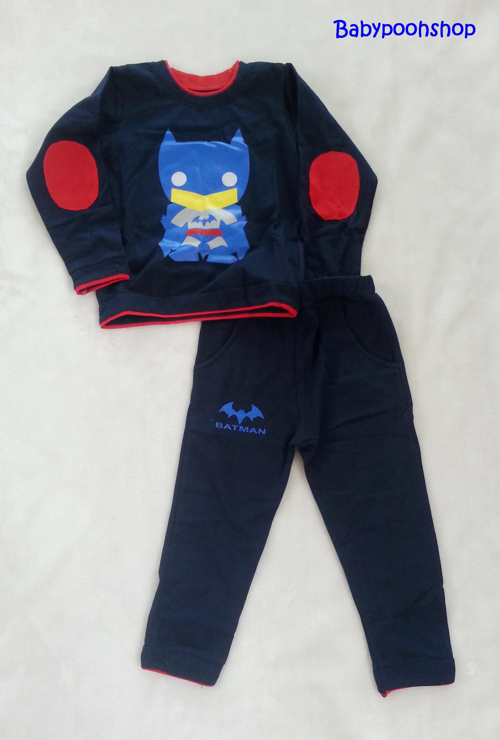 Set เสื้อแขนยาว + กางเกงขายาว สกรีนลาย Batman สีกรม size 1y / 2y / 5y