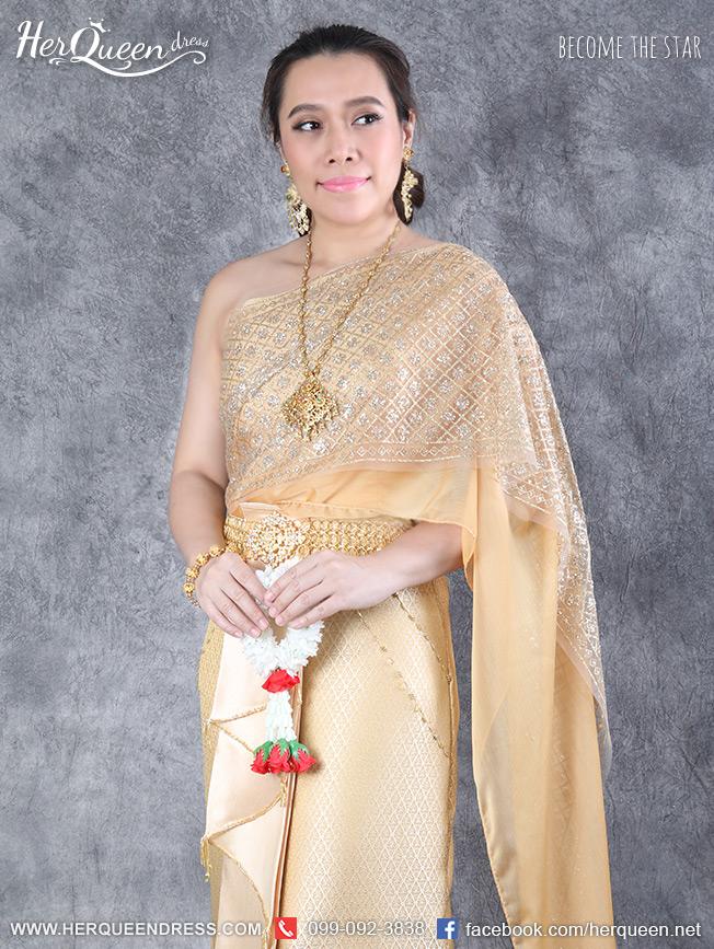 เช่าชุดไทยไซส์ใหญ่ &#x2665 ชุดไทยสไบเกล็ด สีทอง ซิ่นหน้านาง ปักชาย