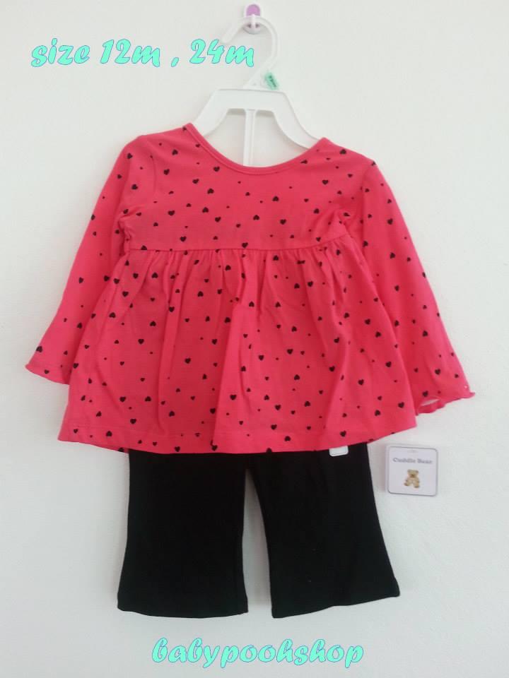 Cuddle Bear : ชุดเซ็ทเสื้อแขนยาวลายหัวใจสีชมพูพร้อมกางเกง