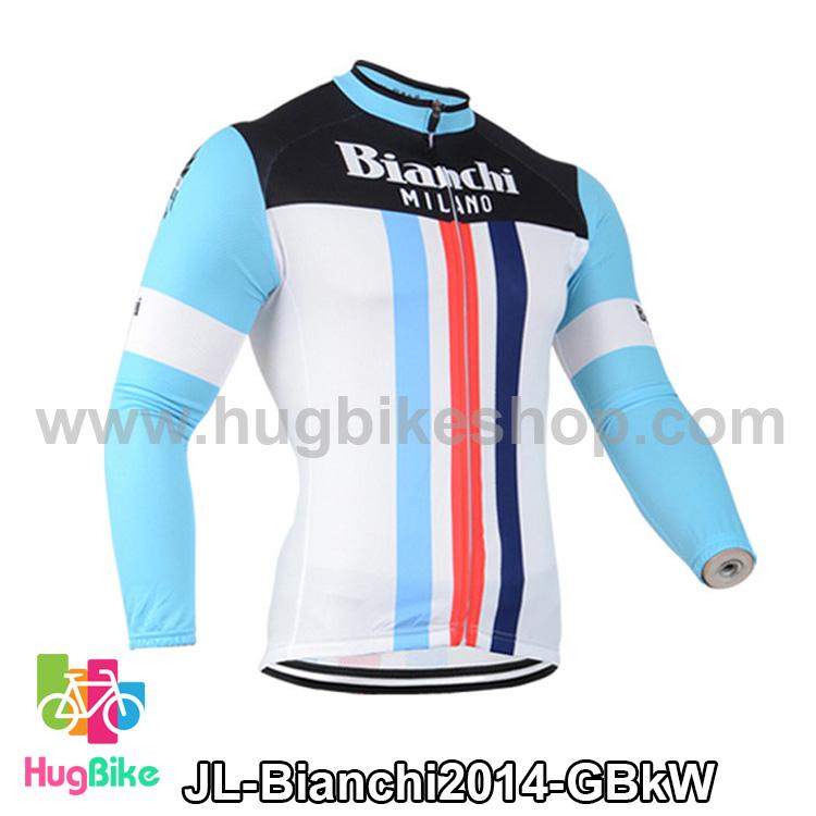 เสื้อจักรยานแขนยาวทีม Bianchi 14 สีเขียวดำขาว