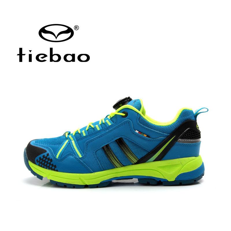 รองเท้าจักรยานเสือภูเขาแบบผ้าใบ TIEBAO รุ่น TB22-B1334 สีฟ้าเขียวสะท้อนแสง สายเชือกหัวบิดรัดสายออโต้