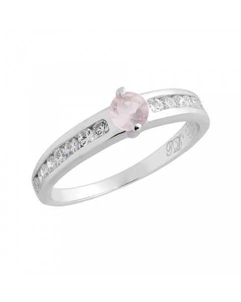 แหวนพลอยประจำวันเกิดวันอังคาร ตัวเรือนเงินแท้ ประดับพลอย Rose quartz (โรสควอตซ์)