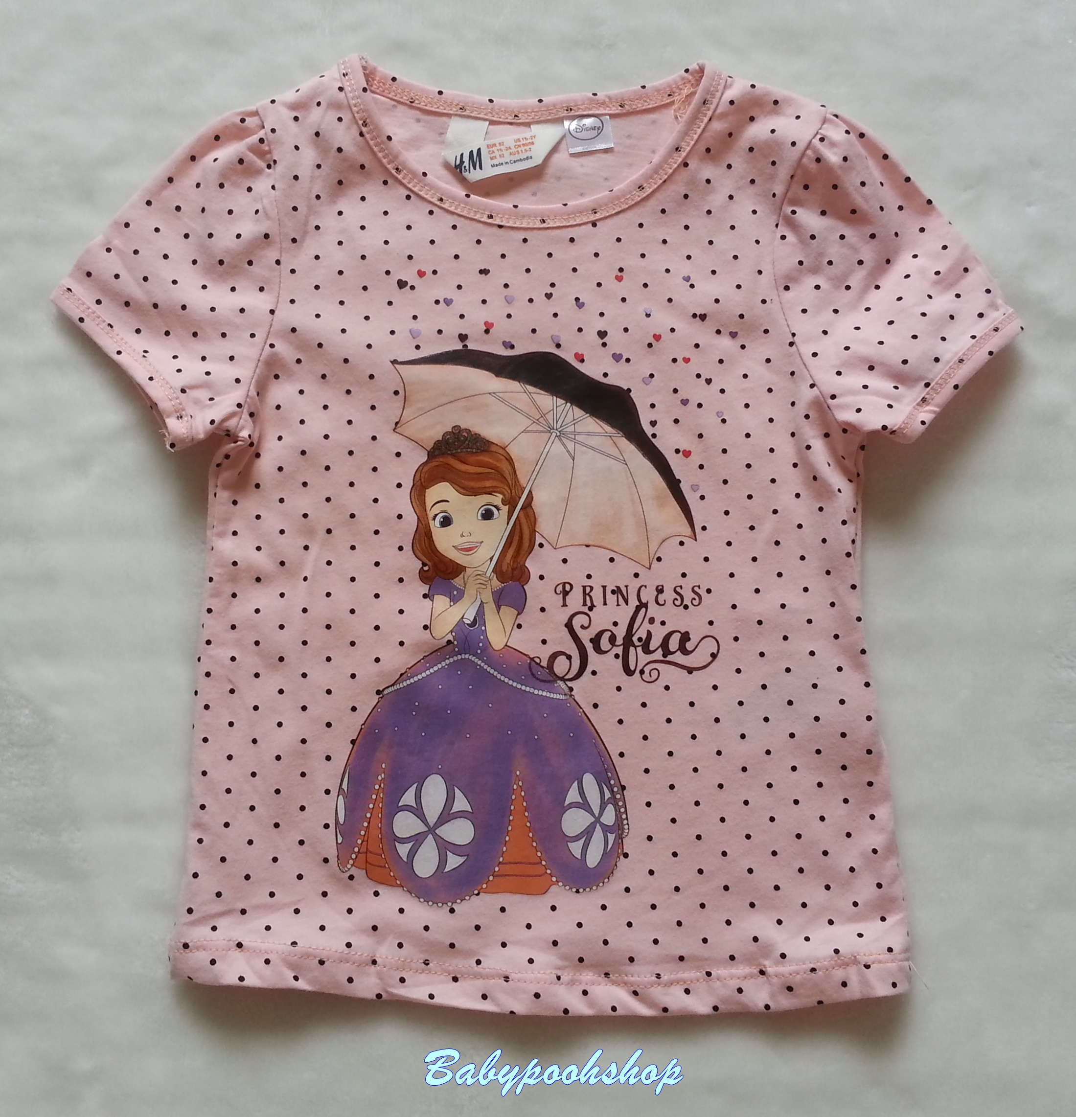 H&M : เสื้อยืด สกรีนลาย เจ้าหญิง โซเฟีย สีโอรส Size : 12-14y