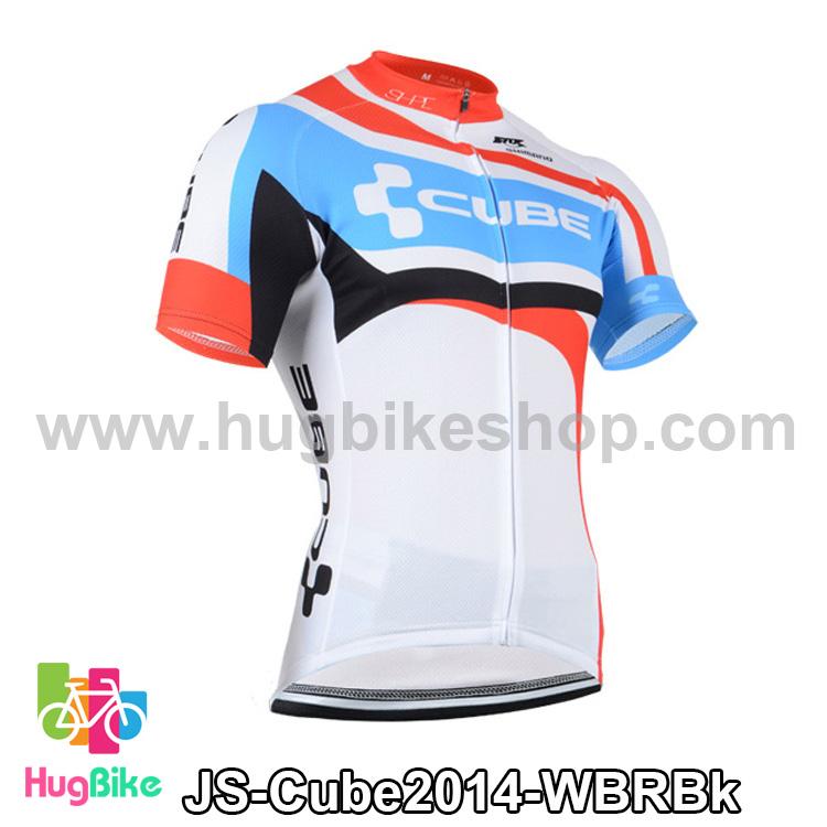เสื้อจักรยานแขนสั้นทีม Cube 2014 สีขาวลาย สั่งจอง (Pre-order)