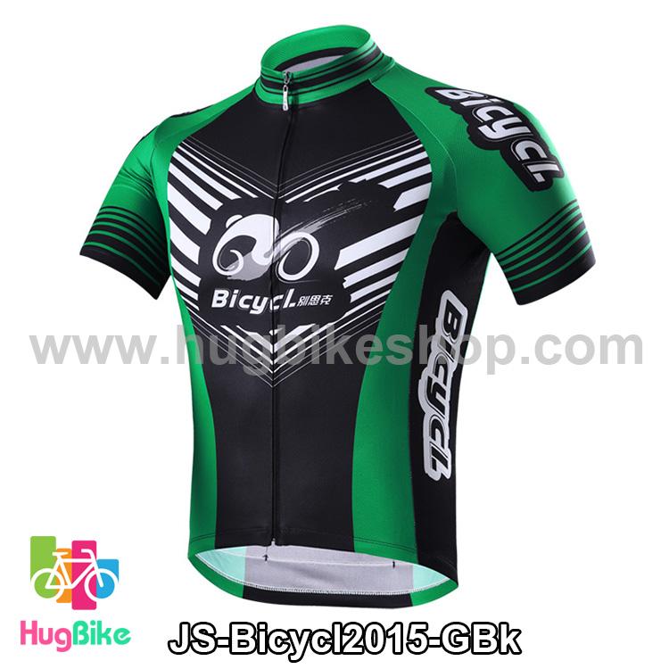เสื้อจักรยานแขนสั้นทีม Bicycl 2015 สีเขียวดำ สั่งจอง (Pre-order)