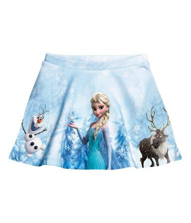 H&M : กระโปรงพิมพ์ลาย Frozen สีฟ้า (งานช้อป) size : 1.5-2y