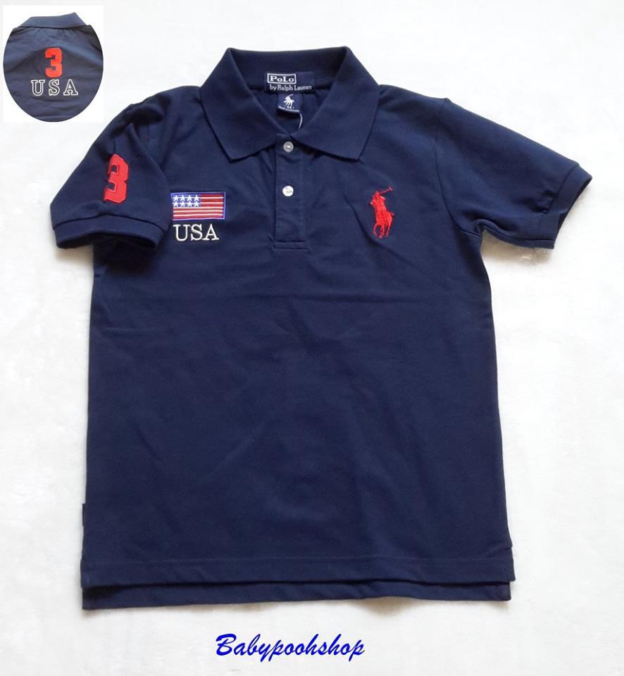 Polo : เสื้อคอปก ปักรูปม้าโปโล และ ธงชาติ USA สีกรม size 44 (11-12y)