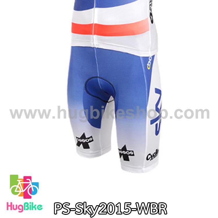 กางเกงจักรยานขาสั้นทีม Sky 15 สีขาวฟ้าแดง