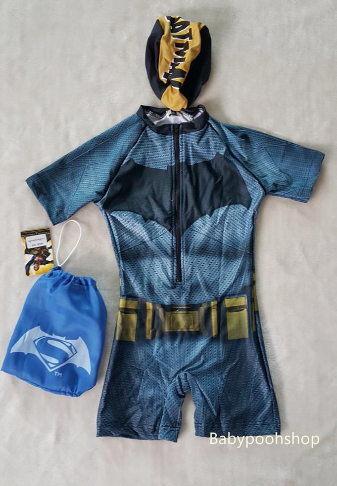 ชุดว่ายน้ำ บอดี้สูท ลาย batman พร้อมถุง และหมวก (งานลิขสิทธิ์) size : XS (3-4y) / S (4-5y) / M (5-6y) / L (6-7y) / XL (7-8y) / XXL (8-9y)