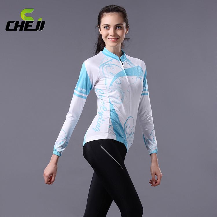 ชุดจักรยานผู้หญิงแขนยาวขายาว CheJi 14 (05) สีขาวฟ้า