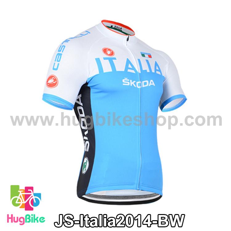 เสื้อจักรยานแขนสั้นทีม Italia 2014 สีฟ้าขาว สั่งจอง (Pre-order)