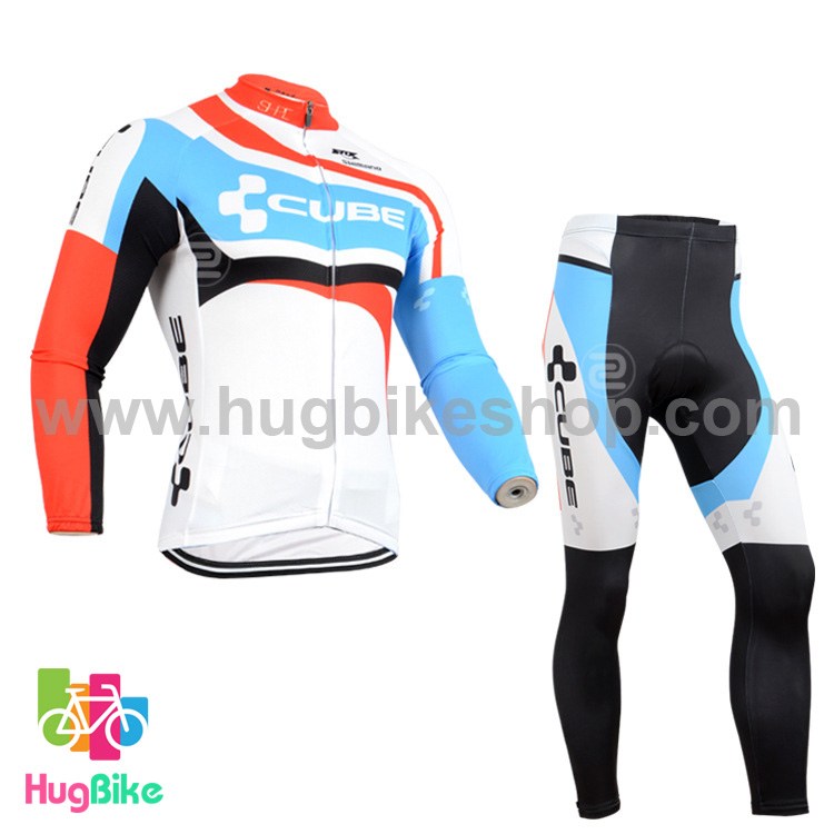 ชุดจักรยานแขนยาวทีม Cube 14 สีขาวลาย สั่งจอง (Pre-order)