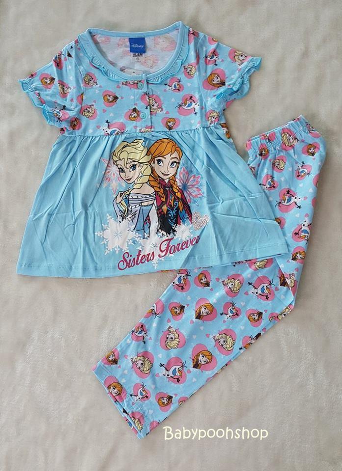 set ชุดนอน เสื้อ+กางเกงขายาว ลายเจ้าหญิง Frozen สีฟ้า size : 8 (6-8y) / 10 (8-10y)